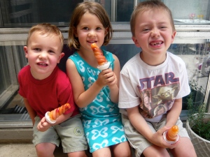 The kids in May 2012. Popsicles made from freshly juiced apples and carrots.